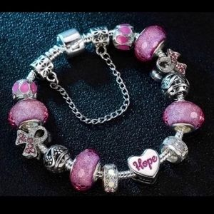 HOPE Cancer Crystal Rhinestone Charm Bracelet NEW